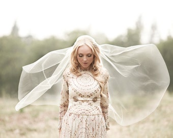 Gold Lace Veil, Juliet Bridal Cap, Tulle Veil Juliet Veil Lace Applique Veil, Silver Veil Long Veil, Cathedral Veil, Elbow Length BOHO #1109