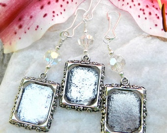 Wedding bouquet photo charms. Bridal bouquet memory charms,  set of 3 crystal photo charms.