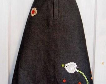 Repurposed Bananna Republic Black Denim Skirt - Upcycled skirt - size 2 - Modest Skirt