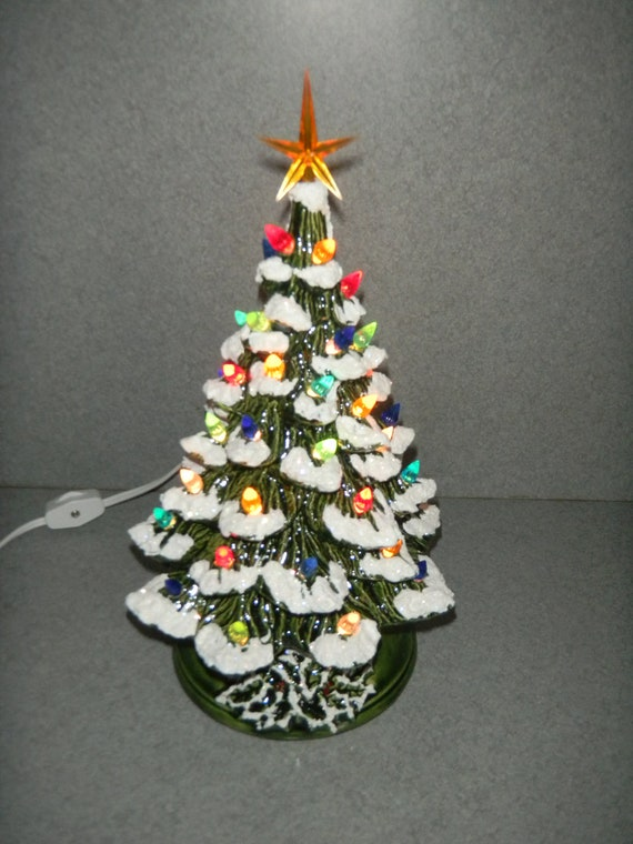 Ceramic lighted CHRISTMAS TREE  11 inches  traditional holiday decoration light ( READY to ship)