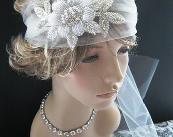 Wedding Headpiece, Bridal Veil -- Retro-Tulle Headband with  Vintage Inspired Floral Beading
