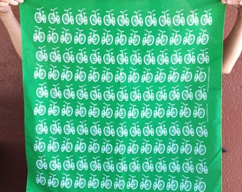 Mens Bandana, Green Bike Bandana, hand printed bike scarf, womens bandana, bandanas for men, reusable cloth, also in cream, black, red, grey