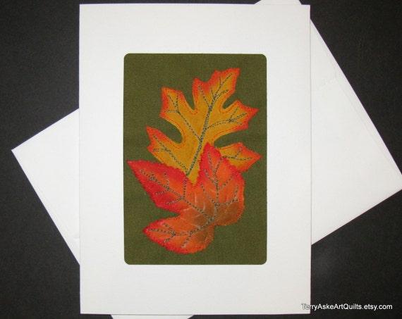 Autumn Leaves Greeting Card - Mixed Media Fiber Art