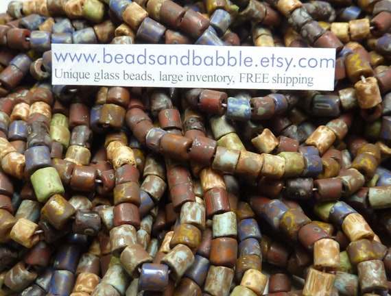 NEW SIZE 6mm Aged Opaque Color Mixed Picasso Czech Glass Tile Beads 3 Strand Hank (C200)