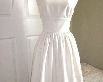 1960s Style Dress - Classic Audrey Hepburn Dress - Ivory Linen Dress - 1950s Theme Dress - Bridal Shower Dress - Rustic Wedding Dress - USA