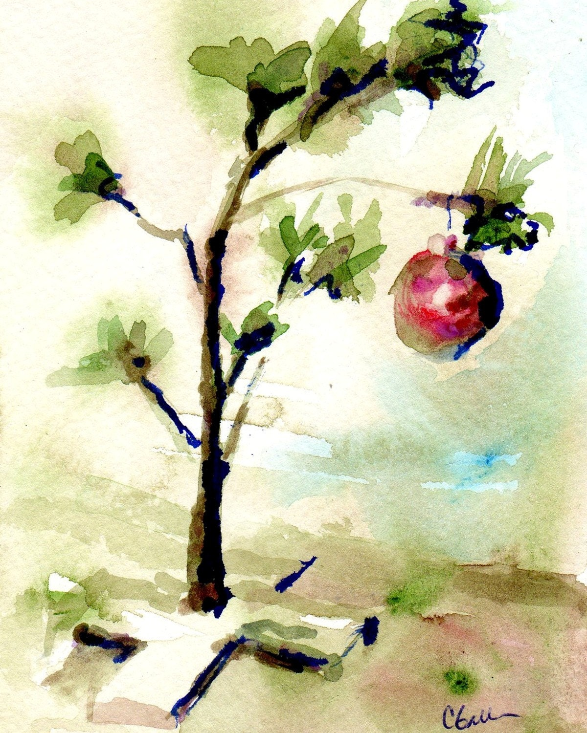 Watercolour Christmas Tree: Little Christmas Tree Print Original Watercolor Olive Green