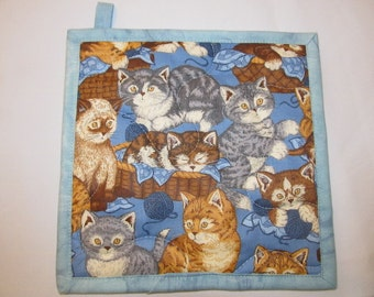 Kittens Potholder:  Insulbrite Quilted Orange and gray tabby Cats Blue, gift for cook or Cat lover, ready to ship