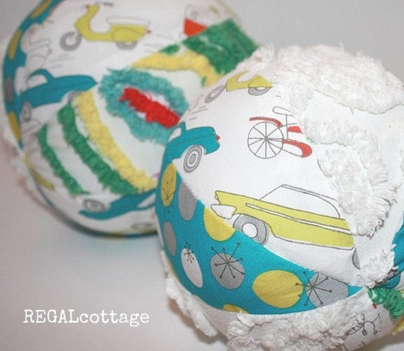 Organic Fabric Baby Ball with Chenille and a Rattle - Hot Rod Cars, Bicycles, Scooters, and Campers