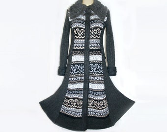 Gray black long sweater COAT boho Princess line upcycled couture. Long knitted cardigan coat