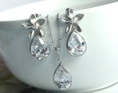 A Rhodium Plated Cubic Zirconia Flower, Silver Plated Frame Cubic Zirconia Pear Jewelry Set  - Bride, Bridesmaids, Maid Of Honour, Wedding.