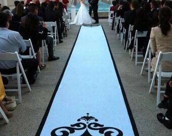 Aisle Runner, Wedding Aisle Runner, Custom Aisle Runner - Black & White on Quality Fabric that Won't Rip or Tear