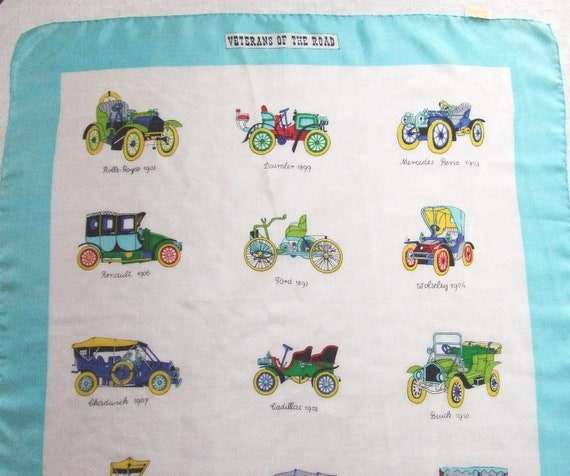 Vintage Classic Cars Silk Scarf Veterans of the Road