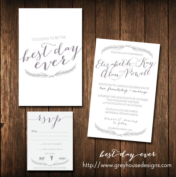 Best Day Ever Printable Wedding Invitation & RSVP By
