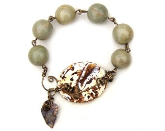 Coiled Wire Wrapped Ivy Vine Bracelet Gemstone Rustic Beaded Bronze Brass