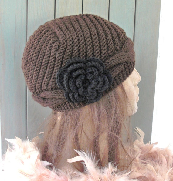 Hand Knit  hat- Womens  hat - Cable knit   Slouchy Beanie  Cloche  Wool hat   in Brown  with flower Fall autumn winter accessories Fashion