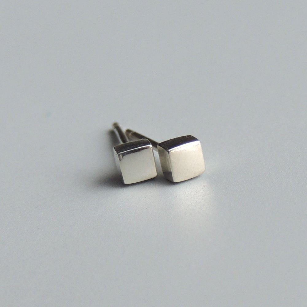 Square Stud Earrings Sterling Silver Small Square Post