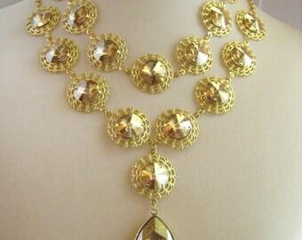 Large Golden Shadow Swarovski Rivoli Stone Rhinestone Statement Drop Necklace - zoeJane Jewels