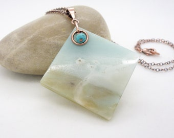 Big amazonite necklace - aqua blue and turquoise necklace, light blue amazonite slice pendant - Copper necklace