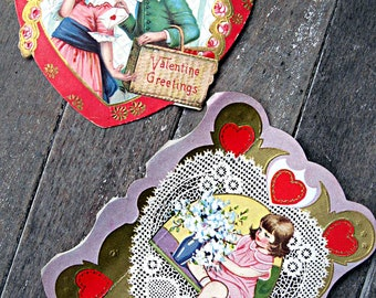Set of 2 Valentine's Day cards, 1940's valentines, cute valentines, retro valentines, heart valentines mixed media supply altered art supply