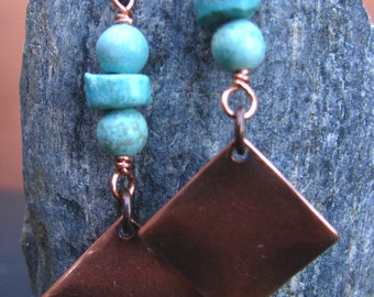Turquoise and Antiqued Copper Squares Dangle Earrings