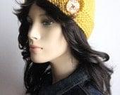 Mustard  Yellow Button Tab Beanie Womens Accessories Winter Fashion Knitted Hat Vegan Yarn