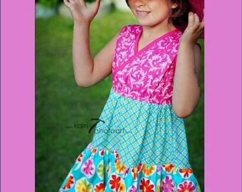 SALE - Girls Floral Dress - Hot Pink Aqua Dress - Dance Party Dress - Spring Dress - Easter Dress - Summer - Twirl Dress - Special Occasion
