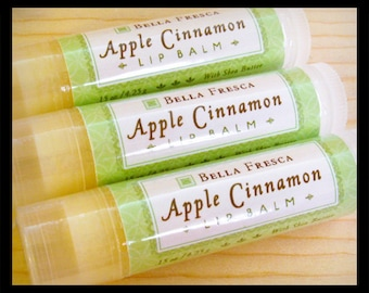 Apple Cinnamon lip balm with Shea Butter • Fall Season, Party Favor, Stocking Stuffer, Gift, for chapped lips, lip butter, chapstick