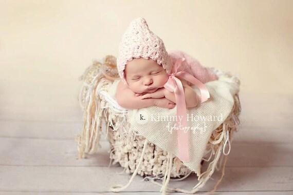 Newborn Pixie Bonnet Hat, Light Pink Crochet