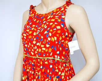 Vintage Dress Gauze Dress Confetti Empire Waist Sundress Red Sleeveless Girl's Small Women's Size 10 Chocolate Soup Colorful Gauze