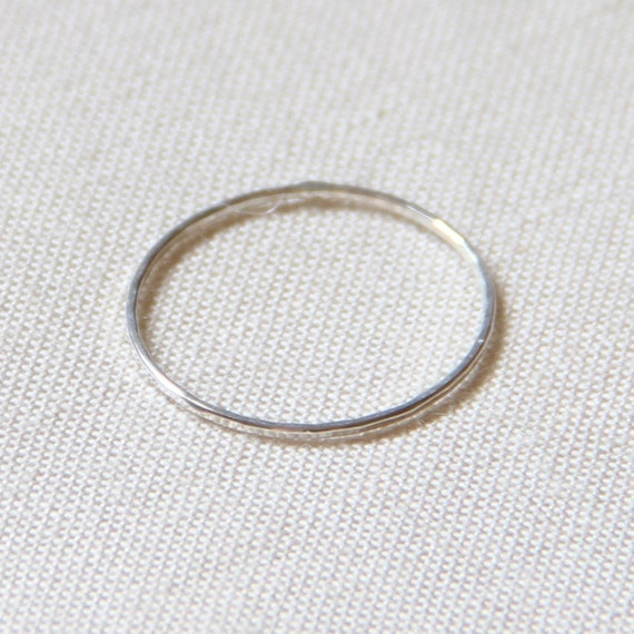 Thread of Silver - Tiny Halo Hammered Stack Ring - Delicate Jewelry - Finger Tip Ring