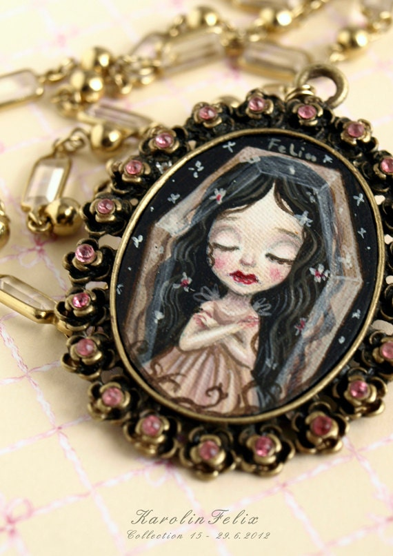 reserved for Beatriz - In Crystal Coffin she sleeps - from Snow White fairytale - original cameo painting necklace. art by KarolinFelix