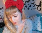 Red Sparkle Crocheted Big Bow Ear Warmer Headband