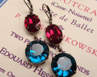 Anna Karenina Earrings Rose Pink Teal Blue Rhinestone Prom Vintage Retro Estate Jewels
