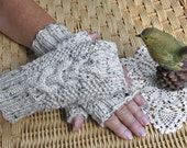 Fingerless Texting Gloves with Cable  -  Oatmeal Aran Tweed - Off White - Easy Care
