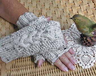 Fingerless Texting Gloves with Cable  -  Oatmeal Aran Tweed Wool - Off White