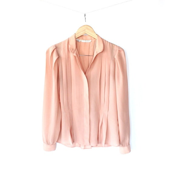Vintage 70s Sheer Peach Pink Pleated Top // Long Sleeve Secretary Blouse