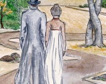 Mr.Darcy  and Lizzy Get Lost 5x7 art print.  Jane Austen. Pride and Prejudice.