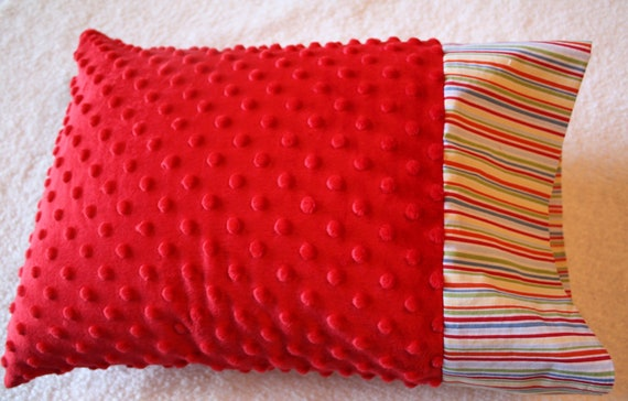 Small Red Minky Pillowcase for 12x16 Pillow- Stripes and Red Minky Dot Toddler Pillowcase- Minky Pillowcase- Red Toddler Pillowcase