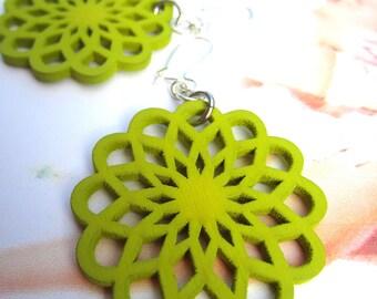 summer earrings,lightweight earrings, fun earrings,celery green Earrings, wood cut earrings, petite simple green earrings