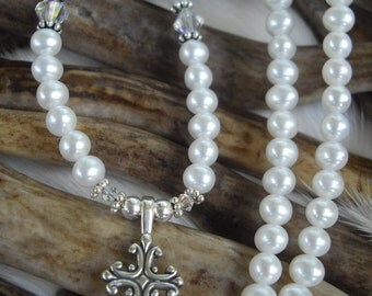 pearl necklace with sterling silver cross and crystals