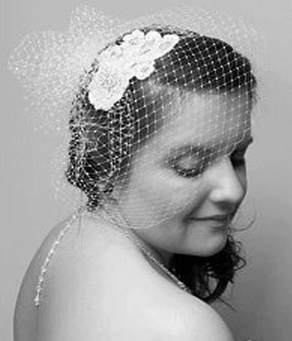 Full Birdcage Veil with Pouf, Vintage veil Chic white, ivory, black vintage style modern veil Russian net French Bird cage Veil