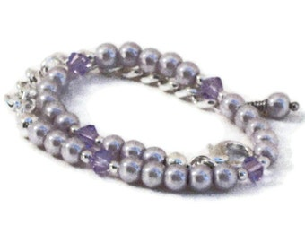 Purple Pearl Necklace, Wedding Jewelry, Bridesmaids Gifts, Gifts for Women Mom Wife Sister Daughter Grandma Under 25, Stocking Stuffers