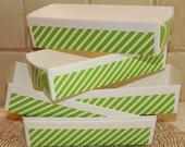 Paper Baking Pan, Paper Loaf Baking Pans, Green Stripe Rectangular Cake Pan, Homemade Food Gift, Party Favor, Bridal Shower, Country Wedding