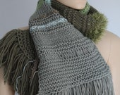 Sale 40% OFF  only this month - Pale olive, shades of green Long  Hand knit Scarf - Fall Fashion