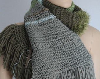 Boho Chic Pale olive, shades of green Long  Hand knit Scarf - Fall Fashion