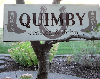 Custom Last Name Sign. Personalized Country Wedding Sign, Western, Horse Shoe, Cowboy Boots, Bridal Showers or Anniversaries. 10 X 24 in.