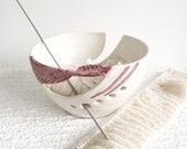 Pre-Order Personalized custom Option Wheel thrown Ceramic Yarn Knitting Bowl, White POTTERY pink twisted leaf stoneware - MADE to ORDER
