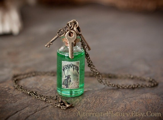 Absinthe Bottle Necklace - La Fee Verte - Green Fairy Label with Key Charms