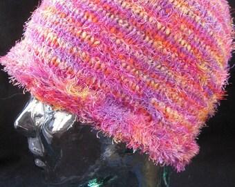 Beanie Hat in Pink Novelty Yarn