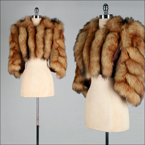 Vintage 1940s 1950s coat fox tail fur bolero s m l 2163
